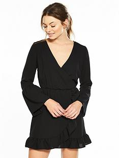 miss-selfridge-long-sleeve-frill-wrap-dress-black