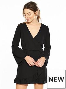 miss-selfridge-long-sleeve-frill-wrap-dress-black