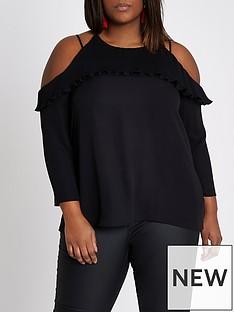 ri-plus-cold-shoulder-blouse--black