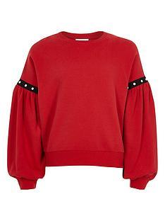 river-island-girls-red-puff-sleeve-sweatshirt
