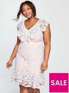 v-by-very-curve-lace-ruffle-pencil-dress-pinkblue