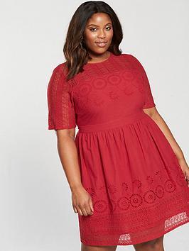 v by very curve cutwork midi dress - burnt red