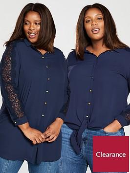 v-by-very-curve-knot-lace-insert-longline-blouse-navy