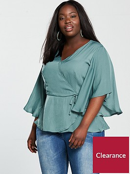 v-by-very-curve-jacquard-wrap-angel-sleeve-blouse-dusty-mint