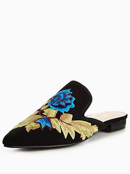 Glamorous Embriodered Slip On Mule