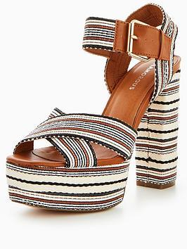 Glamorous Aztec Platform Heel Shoe - Tan