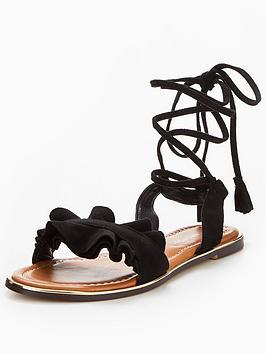 glamorous-ruffle-frill-sandal-black