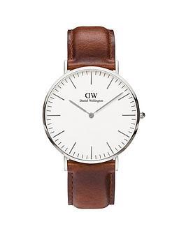 daniel-wellington-st-mawesnbspsilver-40mmnbspcase-brown-leather-strap-mensnbspwatch