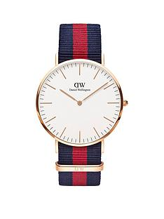 daniel-wellington-oxford-rose-gold-40mmnbspcase-red-and-blue-natonbspstrap-mensnbspwatch
