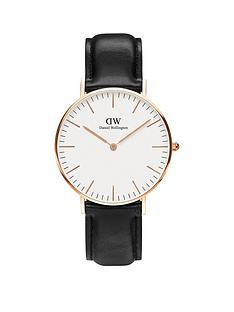 daniel-wellington-sheffieldnbsprose-gold-36mmnbspcase-black-leather-strap-unisex-watch