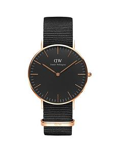 daniel-wellington-black-cornwall-rose-gold-36mmnbspcase-black-natonbspstrap-unisex-watch