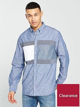tommy-hilfiger-long-sleeve-flag-patchwork-shirt-blue
