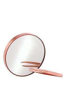 tweezerman-tweezerman-rose-gold-mini-slant-tweezer-and-10x-mirror