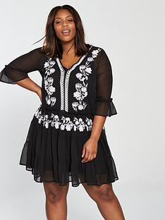 v-by-very-curve-embroidered-tiered-dress-black