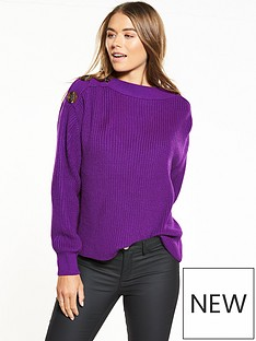 v-by-very-boat-neck-button-detail-blouson-sleeve-rib-jumper