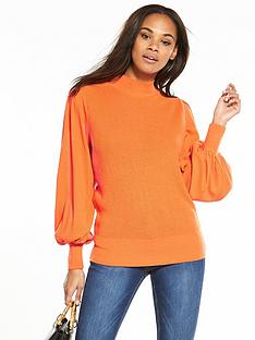 v-by-very-textured-stitch-blouson-sleeve-jumper-nectarine