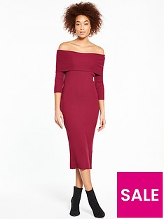 v-by-very-bardot-skinny-rib-knitted-dress-wine