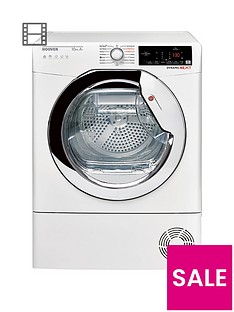 Hoover DXHY10A1TCE 10kgLoad, Aquavision, Heat PumpTumble Dryer with One Touch - White/Chrome