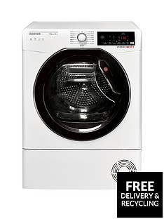 Hoover Dynamic Next DXWH10A2TKE 10kg Load, Aquavision, Heat Pump Tumble Dryer with One Fi Extra - White/Black & Tinted Door