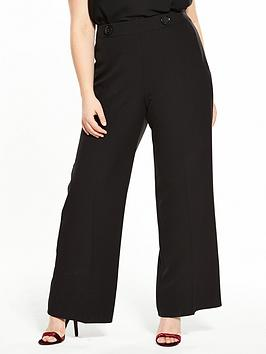 V By Very Curve Button Detail High Waisted Wide Leg Trouser - Black