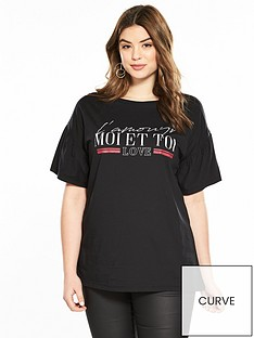 v-by-very-curve-fluted-sleeve-slogan-t-shirt-black
