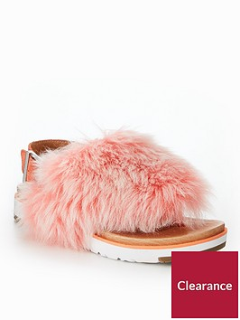 ugg-holly-fluffy-buckle-back-flat-sandals-pink