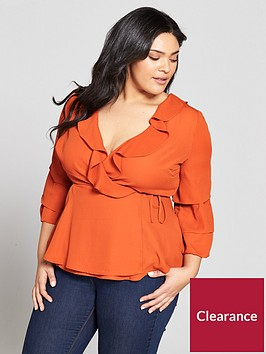 v-by-very-curve-ruffle-wrap-sleeve-detail-blouse