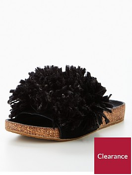 ugg-cindy-pomnbsppomnbspfringed-sliders-blacknbsp