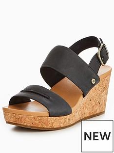 ugg-elena-two-strap-wedge-black