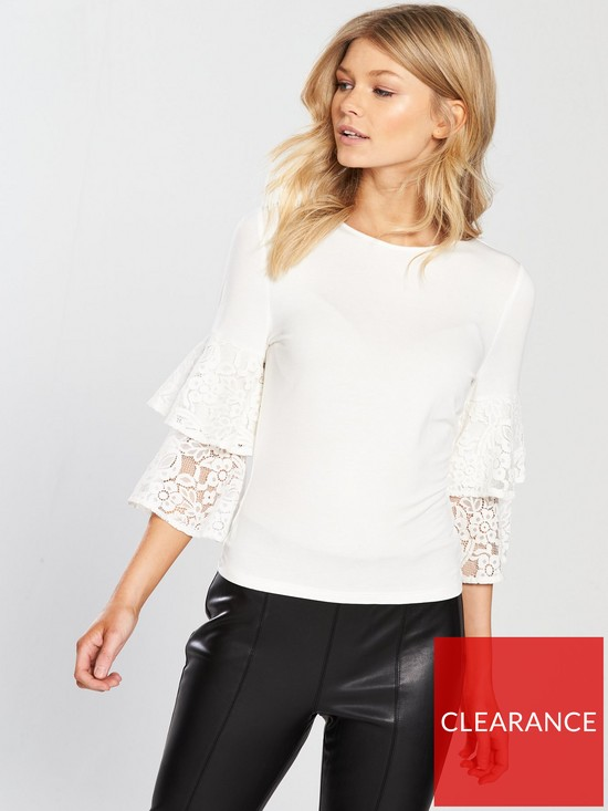V By Very Petite Crochet Ruffle Sleeve Top Verycouk