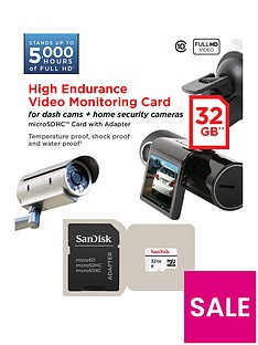 SanDisk High Endurance Video Monitoring 32GB microSDHC Card for Home Security Cameras and Dashcams
