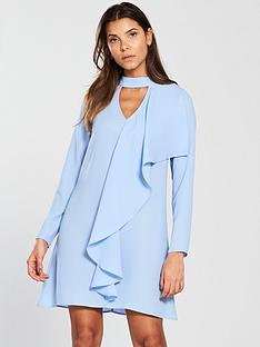 v-by-very-choker-frill-tunic-dress-blue