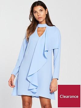 v-by-very-choker-frill-tunic-dress-blue