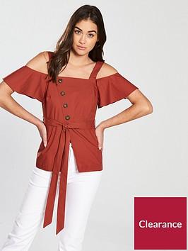 river-island-river-island-utility-cold-shoulder-blouse--rust