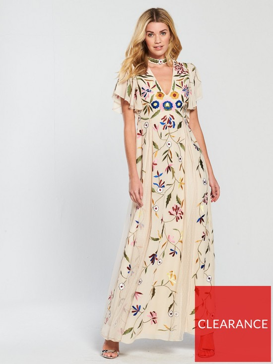 f802c281405 V by Very Chocker Plunging V Floral Embroidered Maxi Dress - Multi ...