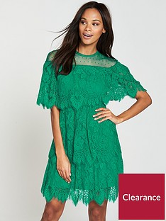v-by-very-lace-tiered-dress-green