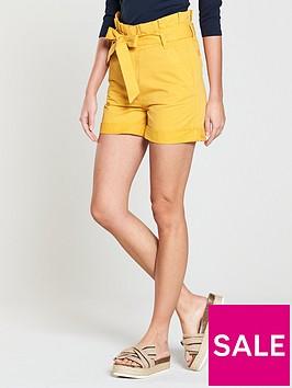 v-by-very-paperbag-waist-short-mustard