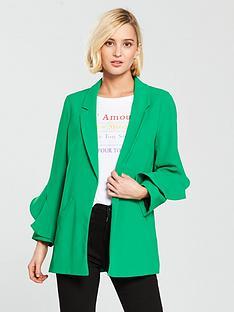 river-island-frill-sleeve-blazer-bright-green