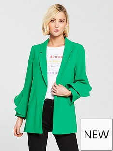 river-island-frill-sleeve-blazer-bright-green