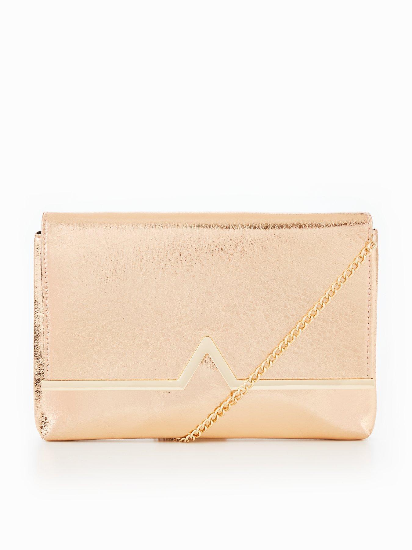 V by Very V Bar Metallic Clutch Bag - Gold