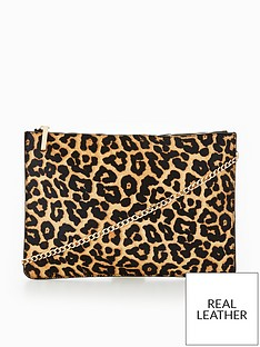 8e7c2338e5cd V by Very Leather Leopard Clutch Bag