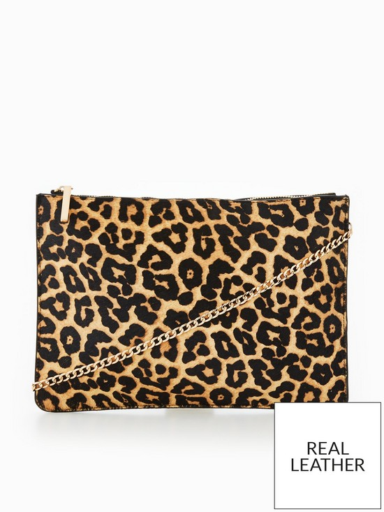 510f4ee94b2d V by Very Leather Leopard Clutch Bag | very.co.uk