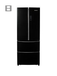 Hoover HMN7182BK/170cm American Style Frost Free Fridge Freezer - Black