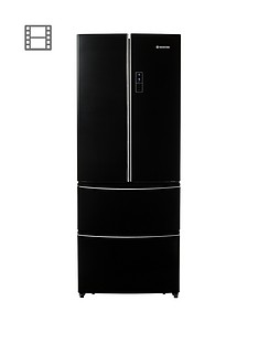Hoover HMN7182BL/170cm American Style Frost Free Fridge Freezer - Black