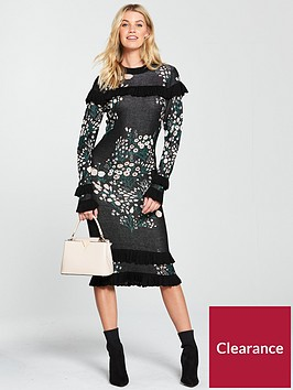 v-by-very-floral-jacquard-frill-knitted-dress