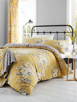 Catherine Lansfield Canterbury Easy Care Double Duvet Set Ochre Best Price and Cheapest