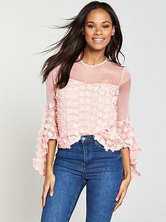 v-by-very-3d-floral-fluted-sleeve-top-blush