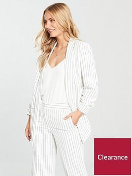 v-by-very-ruched-sleeve-blazer-pinstripe