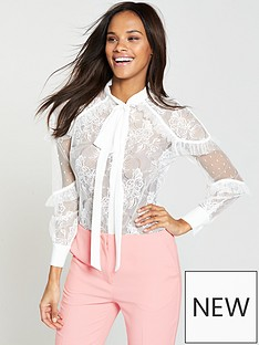 v-by-very-lace-tie-neck-blouse