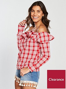 v-by-very-one-shoulder-checked-ruffled-trim-blouse-redwhite
